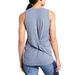 Athleta Siro Twist Back Tank Heather Blue Size Med